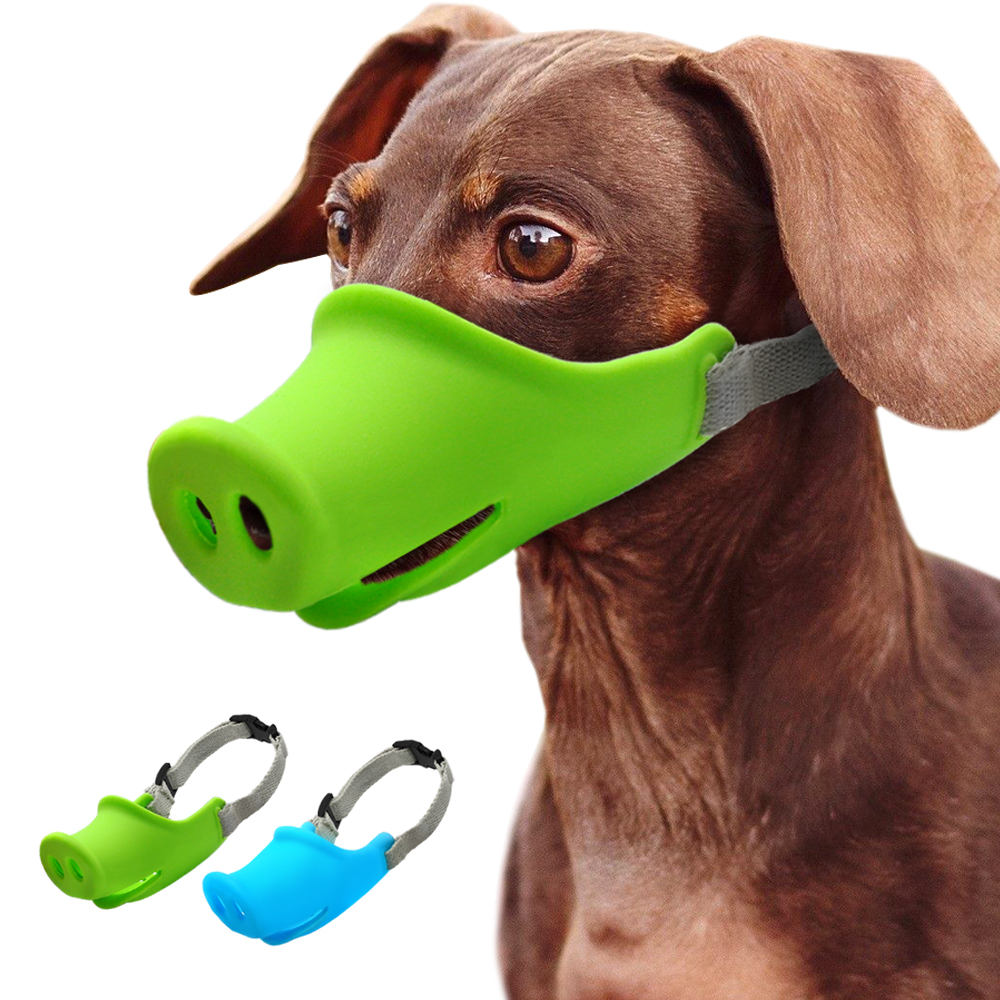Breathable Cute Pig Dog Muzzle Silicone Anti-bite Dog Muzzles Stop Bark Bite Mouth Mask Adjustable For Small Dog Pets Blue Green