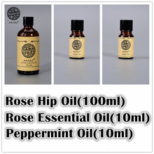 Famous brand AKARZ Whitening sets Rose essential oil peppermint oil Rose Hip oil  Repair wrinkles and scars body Massage Oil