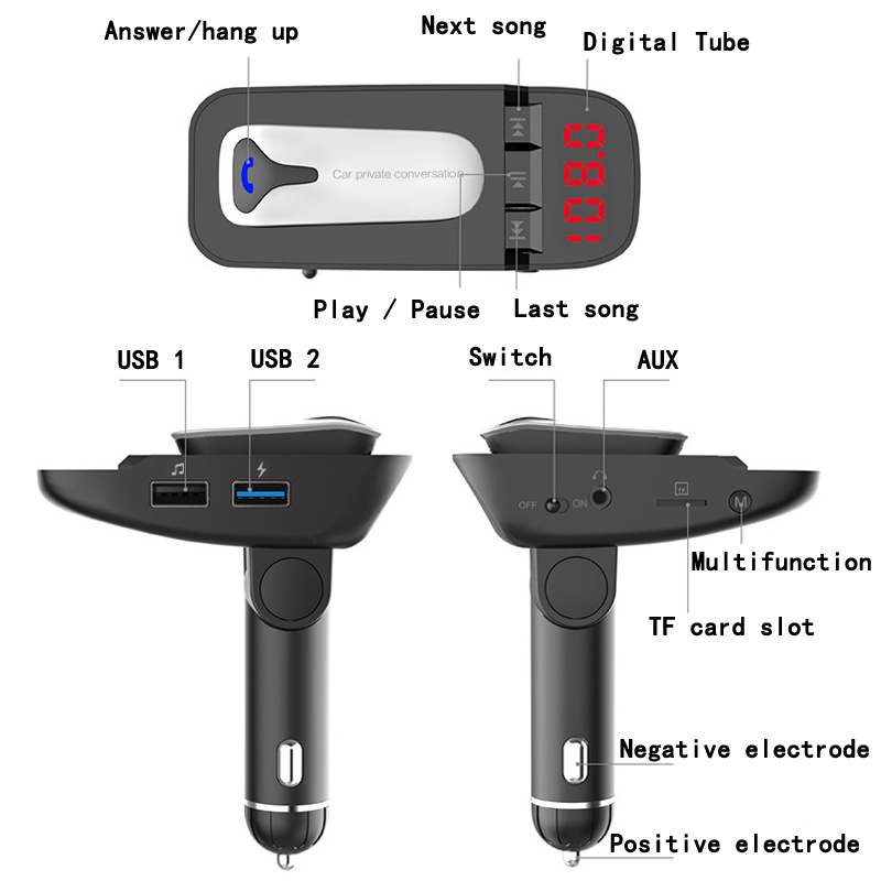 Wireless Bluetooth FM Transmitter Car Kit Detachable Bluetooth headset Handsfree Dual USB Quick Charger Radio Adapter MP3 Player in FM Transmitters from Automobiles Motorcycles