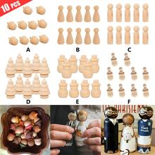 Hot 10 Pcs Creative Toy Puppet Logs Handmade DIY Painted Wooden People Home Decoration Ornaments Crafts Wooden Ornaments Gift