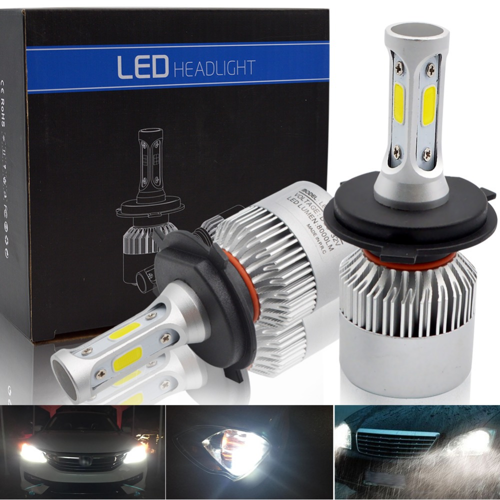 H7 led H11 H8 H9 H4 Hi-Lo Beam LED Car Headlight Bulbs COB 9005 HB3 9006 HB4 72W 8000LM 6500K Auto Headlamp Fog Light Bulb 12V