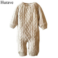 Hurave kids clothes Winter Baby Romper Cotton Plus Velvet Warm New Born Baby Clothes Newborn Infant Clothing Toddler Costume