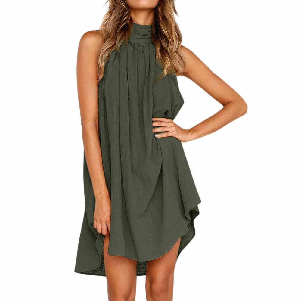 30 # bayan tatil düzensiz elbise bayanlar yaz plaj kolsuz parti elbise vestidos yeni varış elbiseler kadınlar için