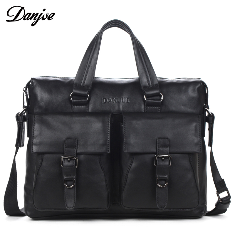 Men Genuine Leather Business Bags Handbag with Shoulder Straps Briefcase for Male Laptop Bag Casual Real Leather DANJUE Brand