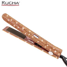 Wholesale prices Rose Gold Sparkling Crystal with LCD Digital Display Flat Iron Crystal Gems Titanium Hair Straightener styling tools