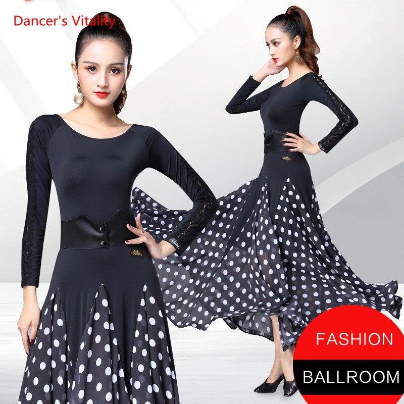 Ballroom Dance Dress Long Sleeved White Dots Big Swing Dresses Women Latin Waltz Tango Dance Performance