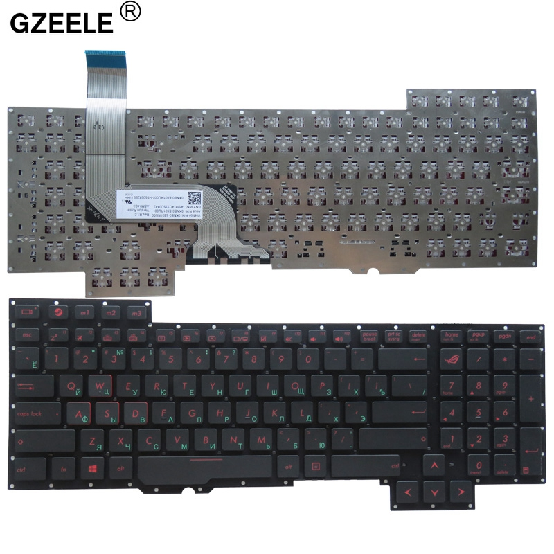 GZEELE Russian Laptop Keyboard For Asus G751 G751JM G751JT G751JY 0KNB0-E601RU00 ASM14C33SUJ442 Black And New RU Layout No Frame