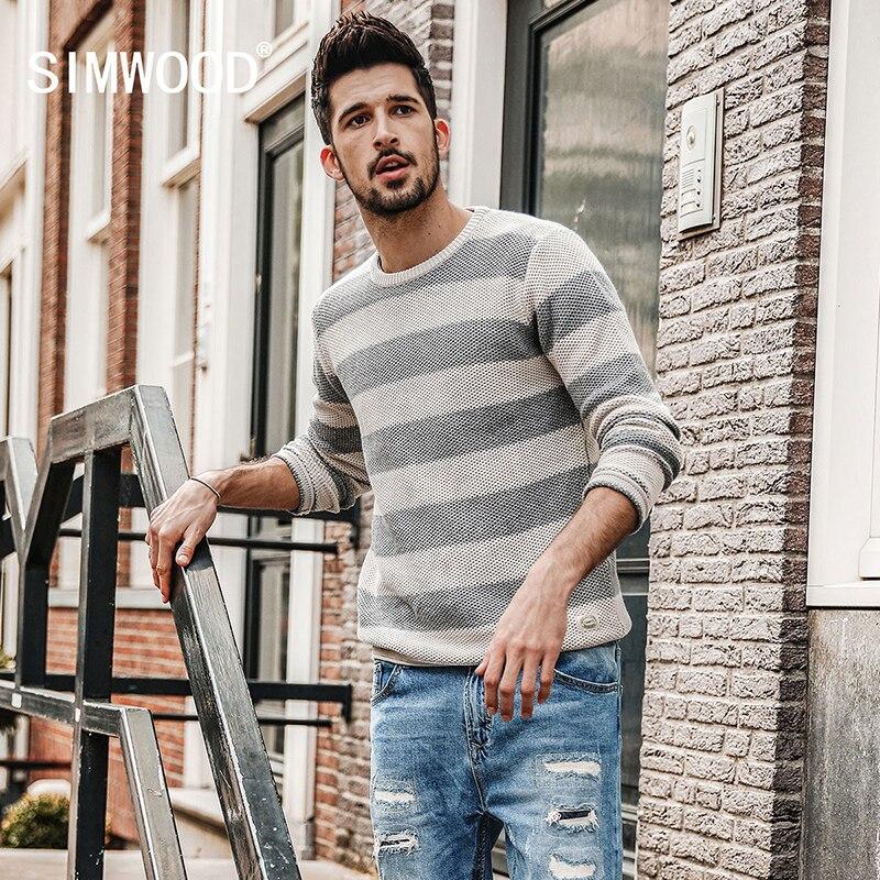 SIMWOOD 2017 Autumn New Striped Sweater Men Contrast Color Slim Fit 100 Cotton O Neck Plus
