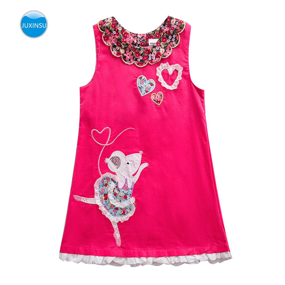 JUXINSU New Summer Cotton Girls Sleeveless Dresses Bird / Mickey Mouse / Small Tree Embroidery for Baby Girl Dress 1-7 Years