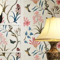 American rustic wallpaper vintage green paragraph ab flower garden living room bedroom tv backdrop woven wallpaper