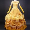 Venta caliente princesa de adultos belle traje de mujeres de la belleza y la bestia de vestuario cos disfraces de halloween para las mujeres fantasia dress