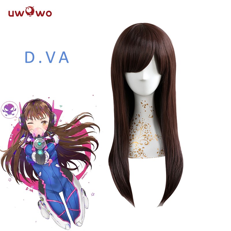 UWOWO Dva Wig OW Cosplay Hair 55 Cm Long Straight Red Brown Wig D.va Heat Resistant Hair Dva