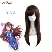 UWOWO Dva Cosplay Wig OW 55 Cm Long Straight Brown Red Wigs D.va Heat Resistant Hair D.va Cosplay Wig Women