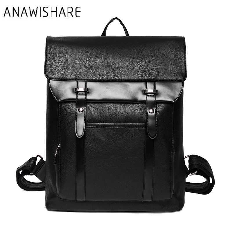 42a412971a89 ANAWISHARE для мужчин кожаный рюкзак школьные ранцы для подростков колледж  студент Bookbags ноутбука Рюкзаки Дорожные сумки