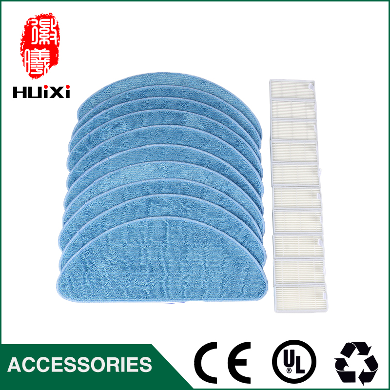 10pcs HEPA Filter + 10pcs Cleaning Mop Cloth  Replacement for CEN540 CR120 X500 X580 KK8 Vacuum Cleaner Parts for Home Cleaner replacement steam mop cleaner accessory mop cloth for x5 h20 25 18cm replacement triangular mop cloth