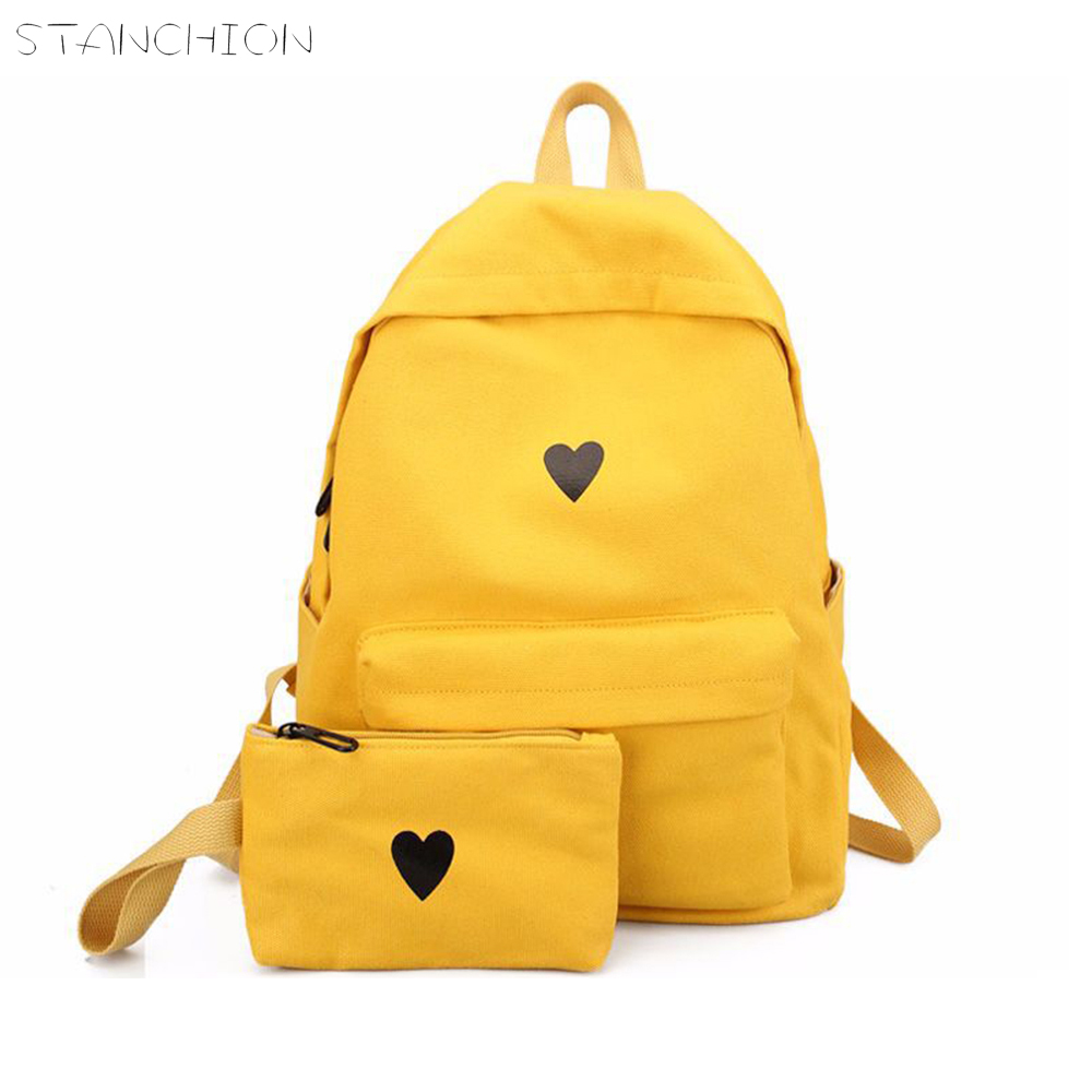 STANCHION Moon Wood Canvas Printed Bag Girls School Heart Yellow Backpack Korean Bag Laptop Style Students Travel BookbagSTANCHION Moon Wood Canvas Printed Bag Girls School Heart Yellow Backpack Korean Bag Laptop Style Students Travel Bookbag