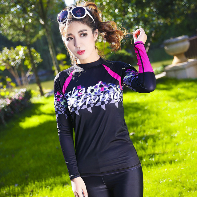 06626036f UV Sun Protection Women's Basic Skins Long Sleeve Crew Rashguard Lycra Rash  Guard Swim Suit