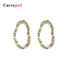 Carvejewl stud earrings irregular hammered oval stud earrings for women jewelry girl gift matte gold silver plating new fashion qiming gold silver adorable bumble bee insect shaped stud earrings animal jewelry for women girl gift stud earrings