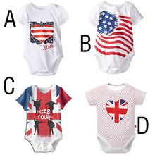 2016 Summer National Flag Stripe Newborn Multi-style Toddler Baby Boys Girls Cute Bodysuit Playsuit Outfits Clothing US 3-24M