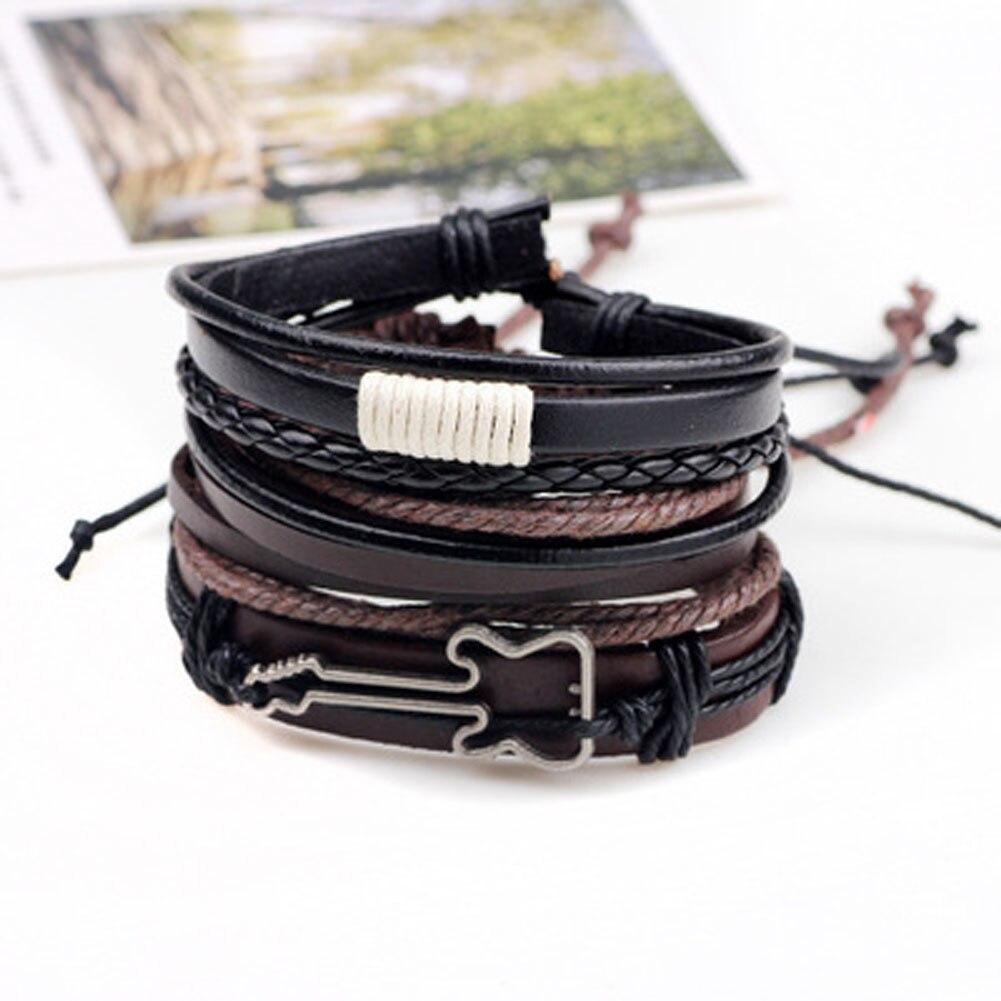 Fashion Jewelry Men's Bracelet Sets Alloy Guitar Hemp Rope Woven PU Leather Beaded Bracelets Casual Vintage Rock Punk Bracelet