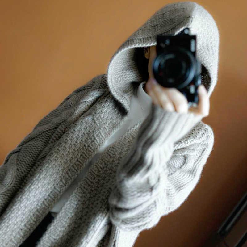 2019 가을 겨울 새로운 후드 코트 캐시미어 카디건 스웨터 여성 솔리드 컬러 코트 두꺼운 소프트 카디건 패션 코트 긴