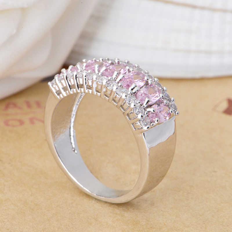 Yanleyu Sang Trọng 7 cái Trứng Màu Hồng Cubic Zirconia Nhẫn Cưới đối với Phụ Nữ Bất 925 Sterling Silver Engagement Ring CZ Đồ Trang Sức PR029