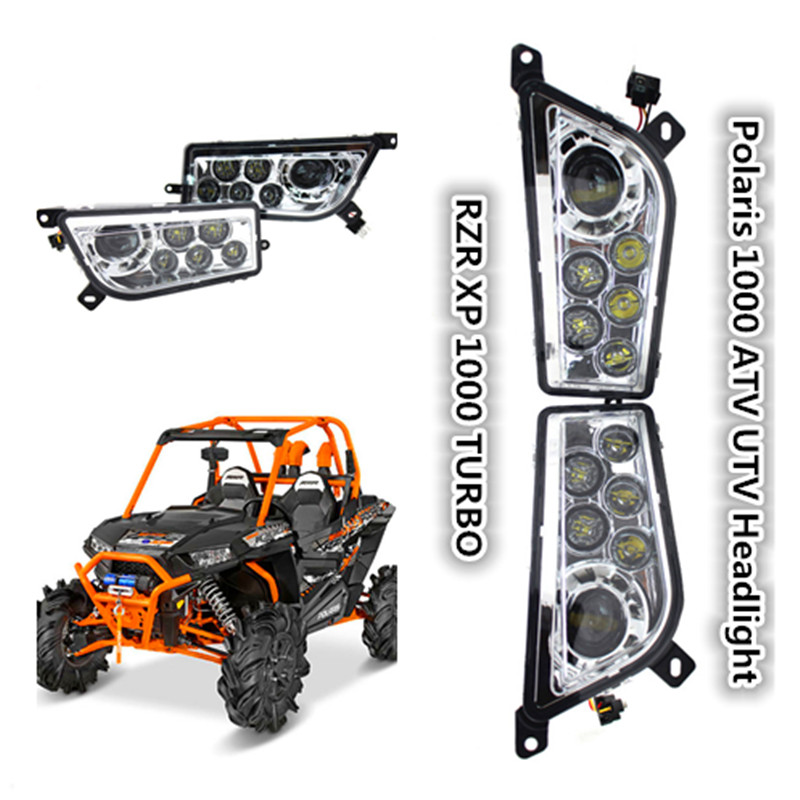 Chrome Polaris RZR 1000 LED Headlight 2015-2017 Polaris RZR 900 Conversion Led Headlight Kit 2014-2016 RZR XP 1000 XP TURBO Lamp