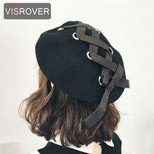 VISROVER новые милые береты женские зимние шапки мягкие Макарон цвет ленты шерстяные Лолита берет Классические мягкие ремни крест лук