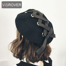 VISROVER New Sweet Cute Berets Women Winter Hats Soft Macaron color Ribbon Woolen Lolita Beret classical Straps Cross Bow