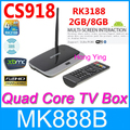 CS918 Plus Smart  Android TV box Quad Core XBMC Kodi Pre installed Bluetooth Cortex-A9 Mini PC 2GB /8GB  Rk3188 + Remote Control