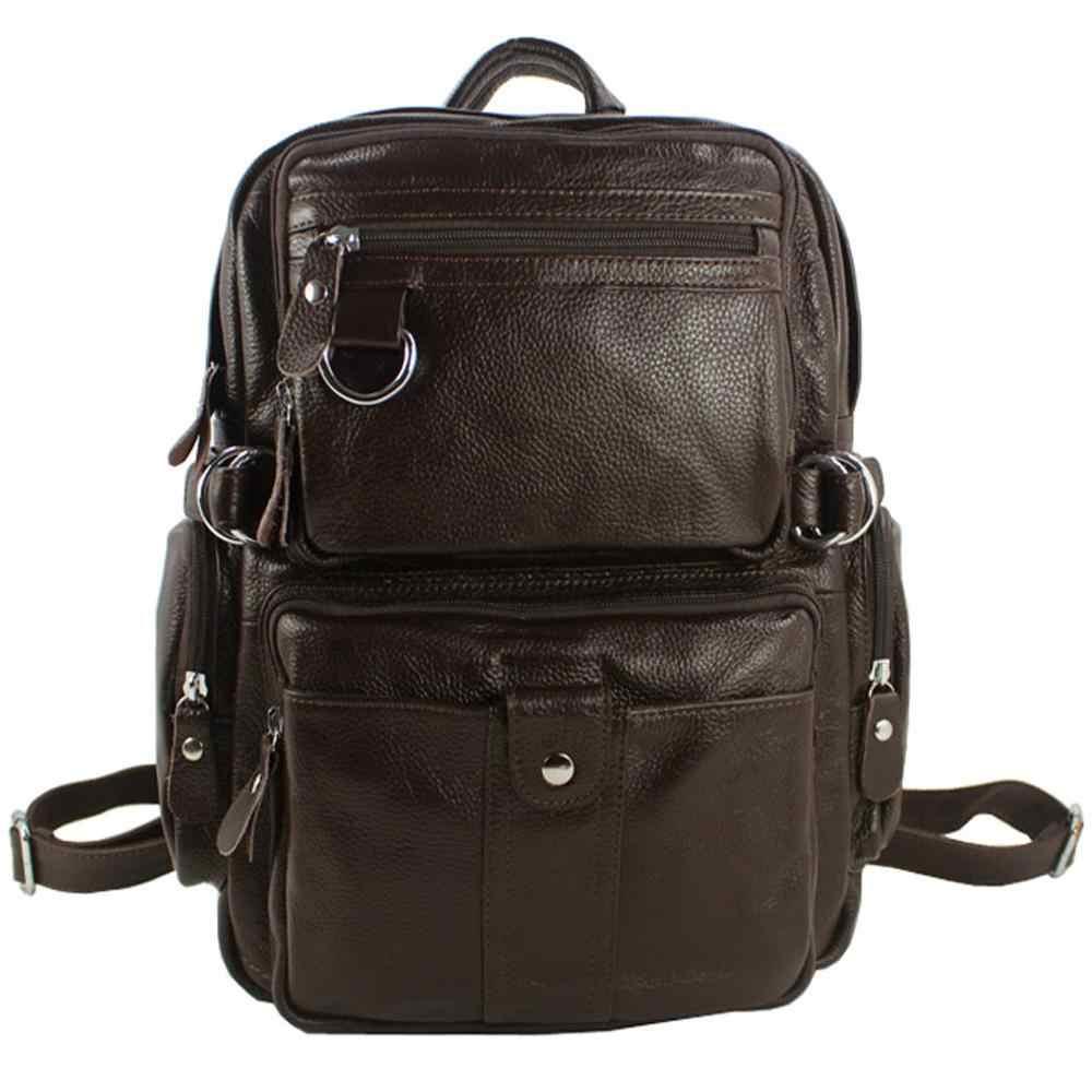 New 2019 Fashion Men's Genuine Leather Backpack Men School Backpack Bag Leather Rucksack male knapsack bagpack  Black brown