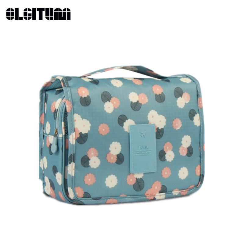 New Women Handbag Fashion Print Flower Bag Portable Waterproof Folding Handbag Handing Wash Bag Storage Package HB867