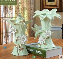 3D three-dimensional hummingbird ceramic vase with rich and bamboo lily crystal mesa