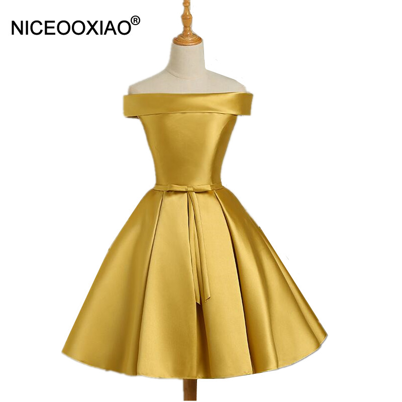 NICEOOXIAO New Women Fashion   Evening     Dress   Satin Drill Short Party Gown Formal   Dress   Bow-tie Sashes Special Occasion   Dresses   97