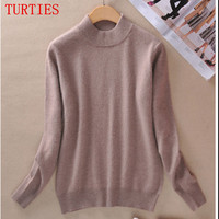 Fall Winter Clothes New Female Half High Round Neck Cashmere Blending Sweaters Slim Hedging Sweater Knit