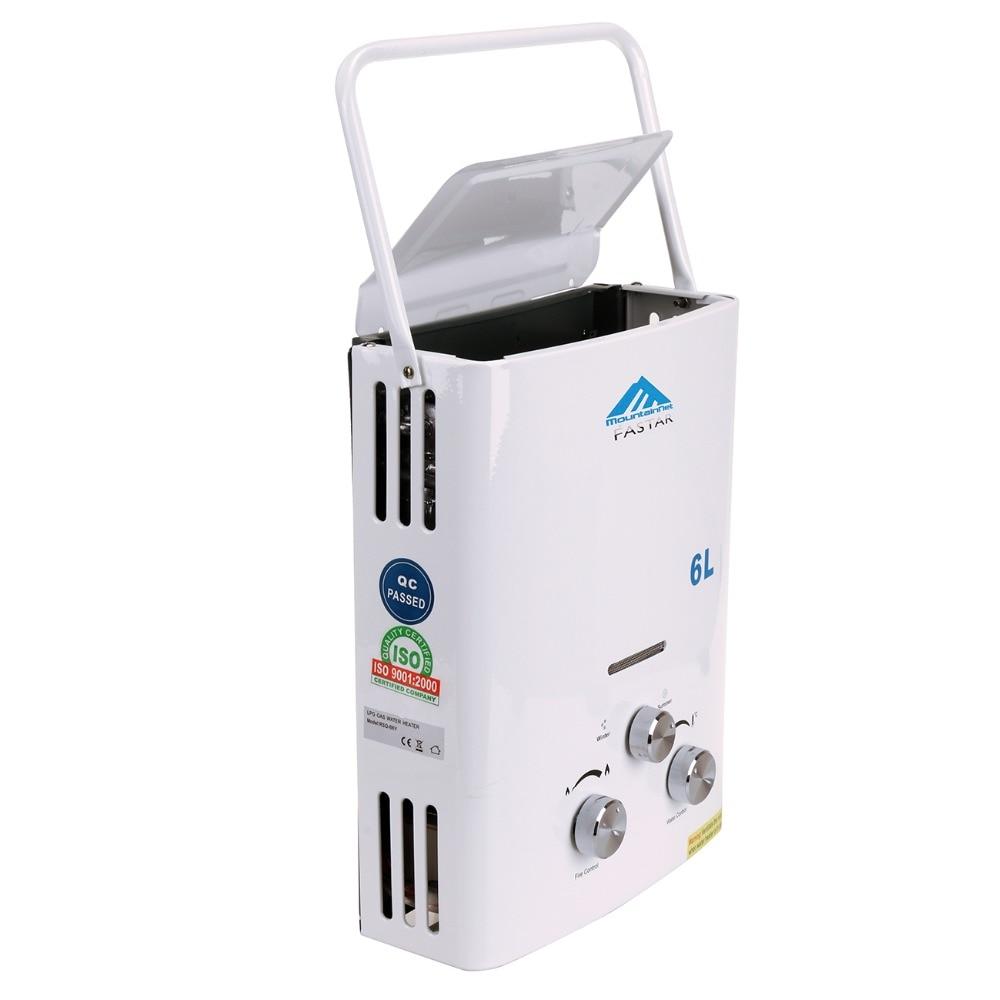 Ue livraison gratuite mise à jour 6L LPG Propane gaz sans réservoir chaudière instantanée Camping en plein air randonnée chauffe-eau avec pomme de douche - 4