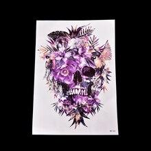 Waterproof Purple Skull Temporary Tattoo Stickers Body Art On Hand Makeup Fake Tattoo For Man Woman