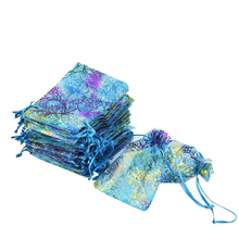 2000PCS / LOT Drawstring Organza Bags Gold Stamping White Colorful Packaging Bags Gift Bag Reusable Pouch 2 Colors