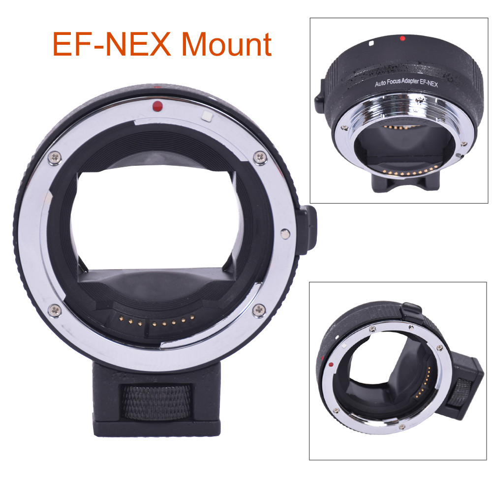 Black Auto Focus EF-NEX EF-EMOUNT FX Lens Mount Adapter for C's EF EF-S Lens for S's E Mount A7R A7S ef adjustable bellows focusing attachment black