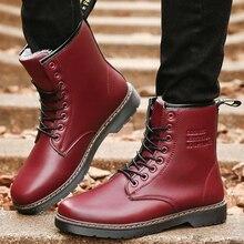 Nouvelle-Angleterre Style Dr PU En Cuir Martin Bottes Martin Chaussures hommes bottes Marque Moto Automne Hiver Bottes En Peluche Rouge Fond fourrure