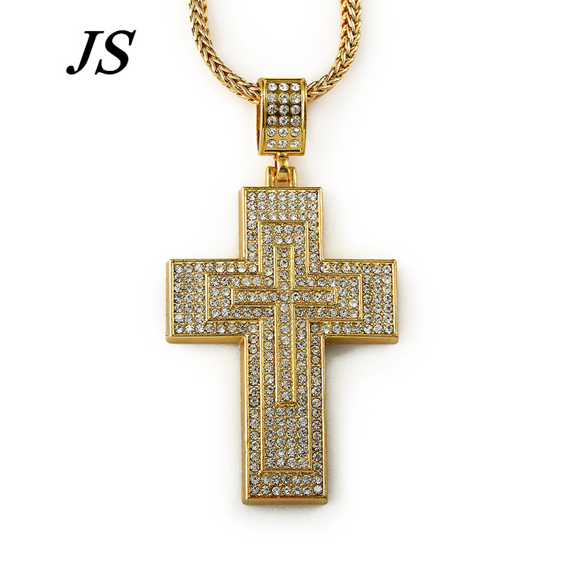 JC Vintage Collier Chaine Simple Large Mens Wide Gold Cross Necklace Hip Hop Rap Punk Rock