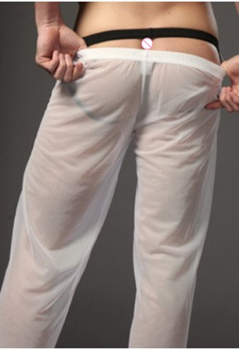 plus size Men transparent gauze loose comfortable Long Johns male underwear sexy panties trousers underwear men