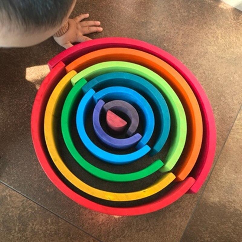 12 pièces Montessori arc-en-ciel Puzzle coloré arc pont construction formes tri préscolaire jouet pour 2-12 ans