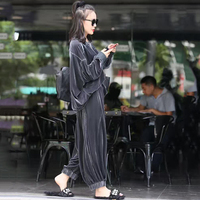 2 Piece Sets Velvet Women Casual Office Lady Sexy fashion O Neck Suit Set Coat With Pants Elegant Chic Work Sets With