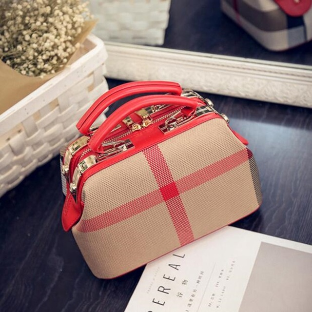 Women Canvas Plaid Bag Handbags Double zipper Ladies Shoulder Messenger Bag Woman Purses High Quality 2017 Fashion Bolsos Mujer