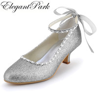 Shoes Woman EP31010 Silver Closed Toe Kitten Heel Rhinestones Ankle Strap PU Glitter Evening Party Pumps