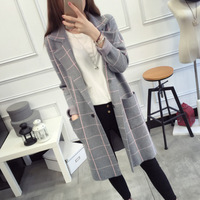 2018 New Autumn Winter High Quality Long Cardigan Women Sweater Long Sleeve Knitted Plaid Cardigans Female Tricot Tops