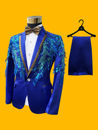 100%real Luxury Mens Royal Blue Sequined Embroidery Tuxedo Suit /event/stage Performance/jacket With Pants And Bowtie