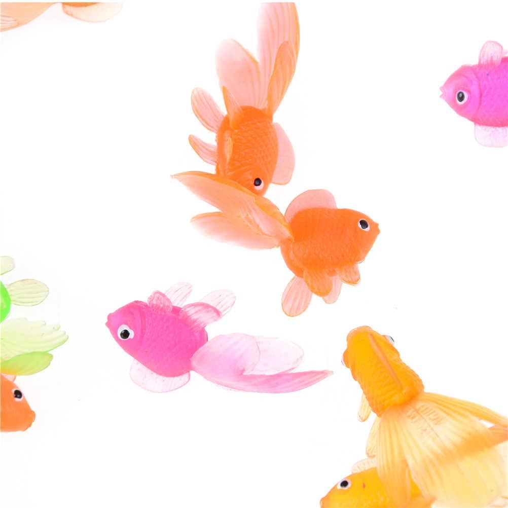 2 шт./лот, милая детская игрушка 4,5 см, пластиковая имитация маленькой золотой рыбки, мягкая резиновая Золотая рыбка, цвет случайный