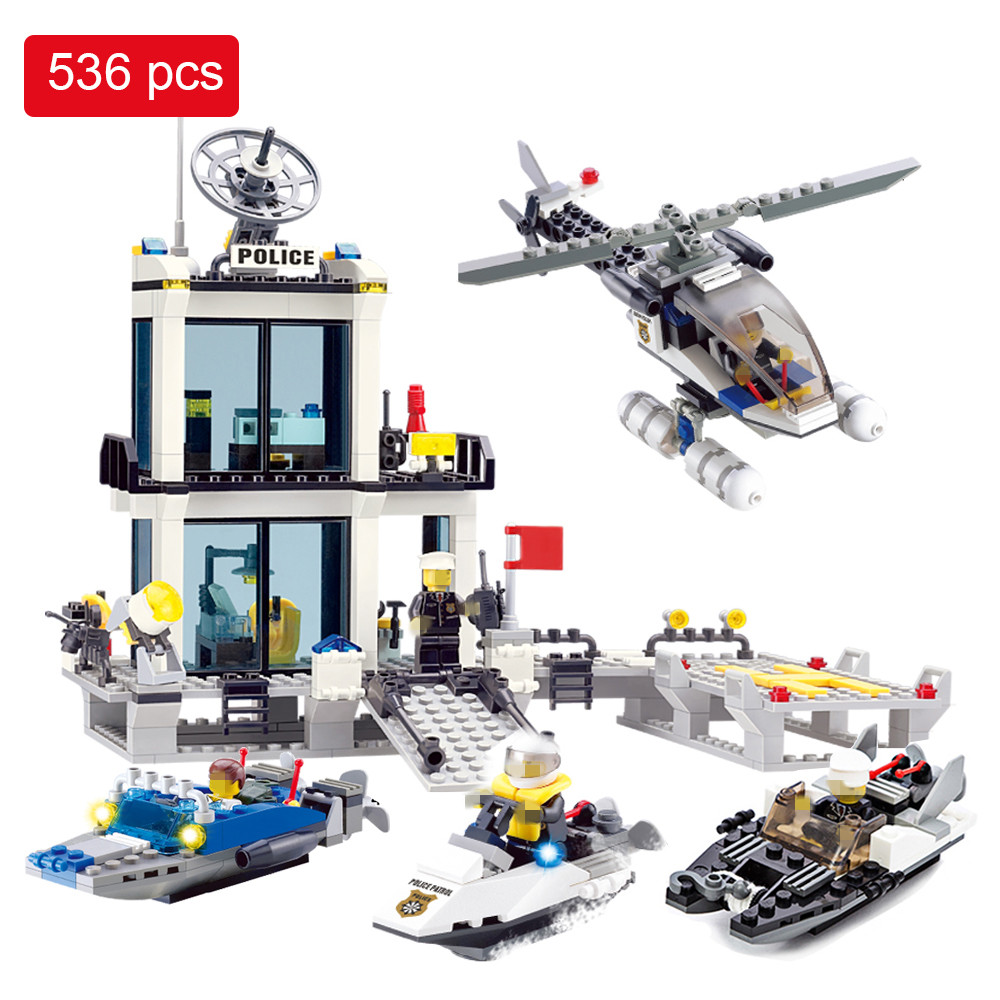 536pcs City Building Blocks Police Station Prison Figures Compatible with Legoed City Police Bricks Set Educational Toys For Kid zxz 02006 815pcs city police series the prison island set building blocks bricks educational toys for children gift legoingse